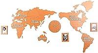 家庭用品壁掛け時計3D世界地図壁掛け時計色クリエイティブ木製モダンアートシンプルなデザインミュート世界地図壁掛け時計大大陸フォーリビングルーム壁掛け時計