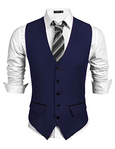 COOFANDY chaleco de traje occidental para hombre chaleco elegante básico chaleco con cuello en v sin mangas chaleco occidental traje de chaleco ajustado (azul, M)