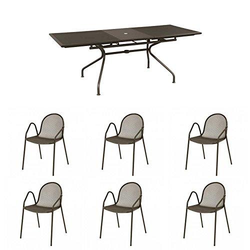 EMU Offer Table Set Athena Extendible 230/300X100 + 6 Armchairs Nova Brown India