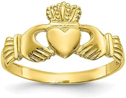 10k Yellow Gold Ladies Irish Claddagh Celtic Knot Band Ring Size 7 00 Fine Jewelry For Women product image