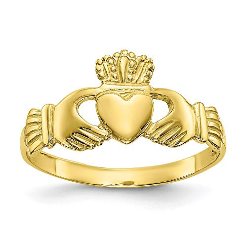 10k Yellow Gold Ladies Irish Claddagh Celtic Knot Band Ring Size 7.00 Fine Jewelry For Women Gifts For Her