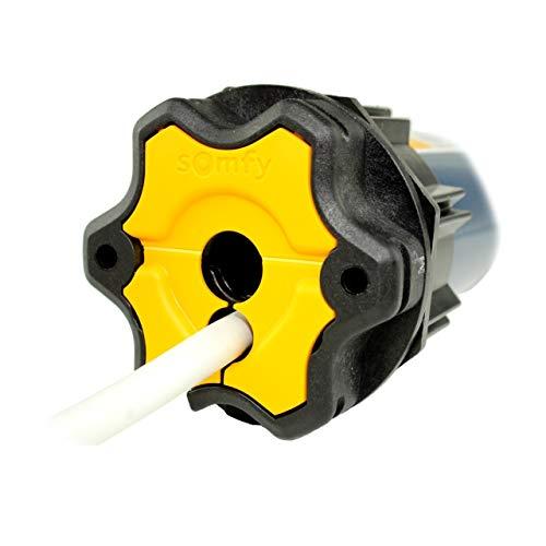 Funk Rollladenmotor Somfy® Oximo 50 RTS inkl. Einbruchschutz durch 3 Hochschiebesicherungen, Motorlager, Anschlusskabel und SW 60 Adapter/Mitnehmer. (Oximo RTS 10/17)