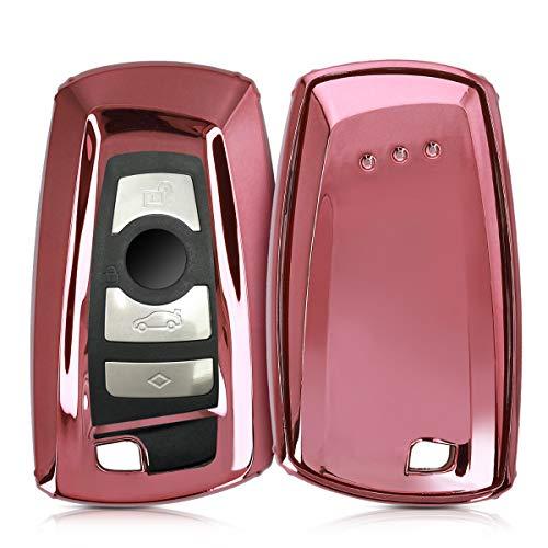 kwmobile Autoschlüssel Hülle kompatibel mit BMW 3-Tasten Funk Autoschlüssel (nur Keyless Go) - TPU Fullbody Schlüsselhülle Cover Schutzhülle Hochglanz Rosegold