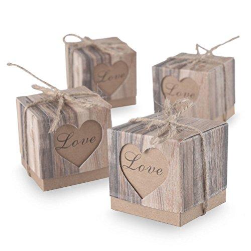 Pixnor Rustikale Kraft Süßigkeiten-Boxen Hochzeit Shabby Chic Sackleinen Vintage Geschenk Schachteln gefallen Hochzeit Gunst - 50 Stücke