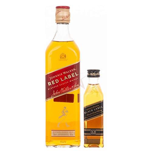 Johnnie Walker Red Label Blended Scotch Whisky 40% - 700 ml with Johnnie Walker Black Label Miniatur 0,05l