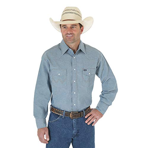 Wrangler Men's Authentic Cowboy Cut Work Western Long-Sleeve Firm Finish Shirt, Chambray Blue, Small