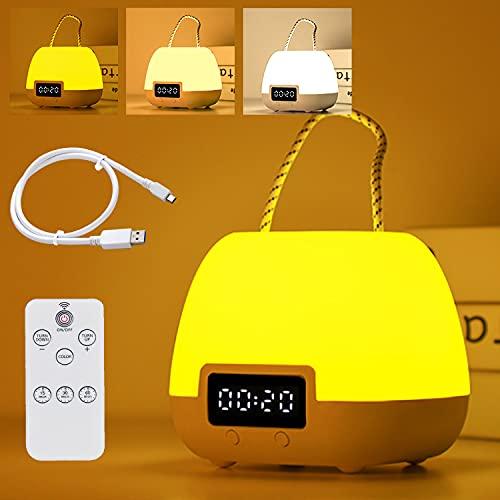 Lámpara de Noche, Luz de Nocturna LED, con Control Remoto/Cambio de Colores, lámpara de Mesita USB Recargable con Pantalla de Reloj, para Niños y Bebés en Dormitorio, Sala de Estar, Cámping