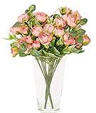 M/ Plantas Artificiales Decorativas Interior y Exterior 3 Ramos Rosa Degradado de peonias de Tela Aspecto Natural para Decoraciones de Novia jarrones Colores cálidos Toque Realista