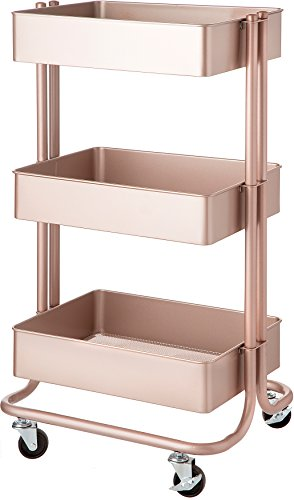 Darice 3-Tier Metal Rolling Rose Gold, 30 inches Storage Cart
