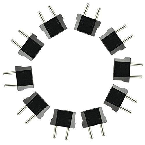 Reisestecker - Adaptador de viaje (10 unidades, AU/US a UE, enchufe CA, para Estados Unidos, AU, Europa), color negro