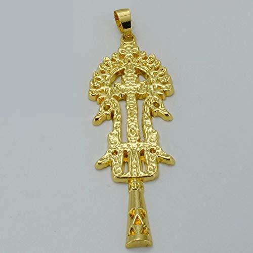 Tianyana Colgante de cruz etíopía de 8 cm con cuerda dorada, para regalo, joya de crucifijo # 015806C
