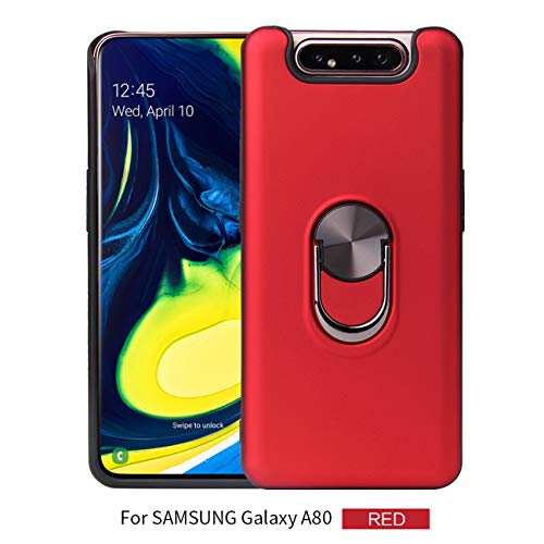 Joytag Compatible For Samsung Galaxy A80 case+ Gehard glas film roterende ring magnetische Houder auto telefoonhoesje TPU Silicon Bumper beschermhoes - Zwart, Rood, Samsung Galaxy A80