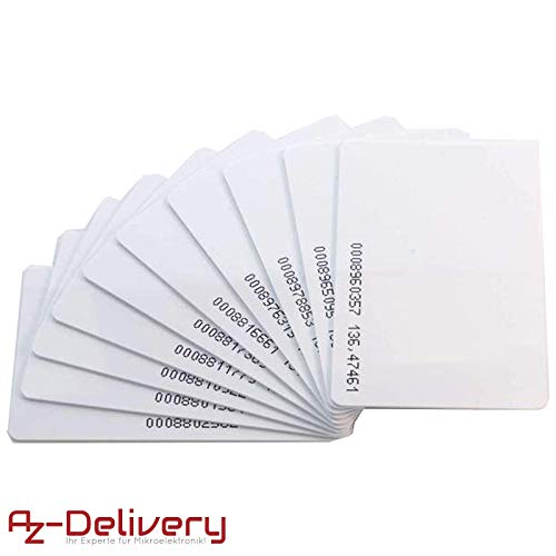 AZDelivery 10 x RFID Card Keycard/Schlüsselkarte 125KHz weiß, durchnummeriert
