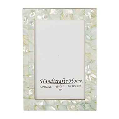 4x6 Picture Frames Chic Photo Frame Mother of Pearl Handmade Vintage from Handicrafts Home (4x6, Green)
