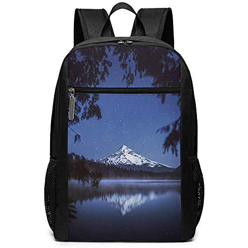 WlyFK Rugzak Night Mount Stars Lake Unisex Unieke Schoudertassen, Volwassene Student Dubbele Rits Sluiting Casual School Bag
