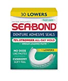 Sea Bond Secure Denture Adhesive Seals, Fresh Mint Lowers, Zinc Free, All Day Hold, Mess Free, 30 Count