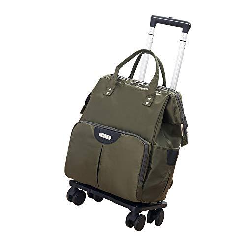 ショッピング キャリー リュック カート トラベルバッグ キャリーバッグ 横押し 横押しカート 3Way 4輪キャスター360度回転 バッグの取り外し可能 機内持ち込み プレゼント (グリーン, S)