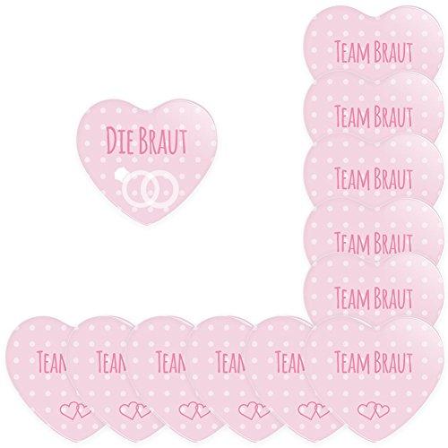 Werbewas 12er Set Herz Buttons für feierliche Anlässe - Hochzeit - Junggesellenabschied / JGA Party - Trauung (38mm) Motiv Team Braut - rosa mit Nadel-Anstecker