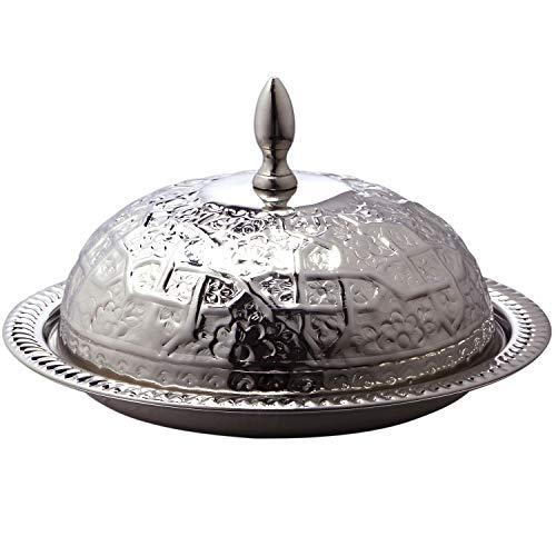 Marokkanische Serviertajine aus MESSING Fassia 26cm groß Silber | Orientalische Hochzeitsdeko auf dem gedeckten Tisch | Serviertablett Rund mit Deckel als Speisehaube oder Käseglocke in Tajine Form