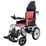 CANDYANA Viajes sillas de Ruedas eléctricas de Plegado automático de Freno Trasero La Simplicidad de Ruedas reclinable con Respaldo Ajustable reposacabezas