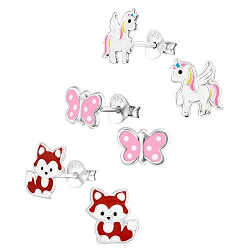 3 Paar Kinder Ohrringe 925 Silber Ohrstecker für Mädchen [Verschiedene Motive Ø 8mm - Einhorn, Schmetterling und Fuchs]