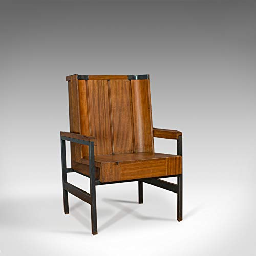 Sillón estilo vintage, inglés, teca, respaldo, asiento, sabor modernista, siglo XX
