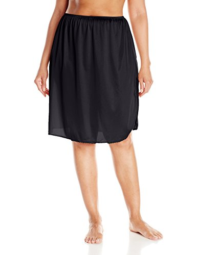 Vassarette Women's Full Figure Tailored Anti-Static Half Slip 11822, Black Sable-24 inch, 2X-Large
