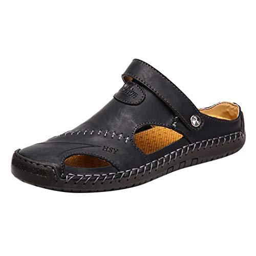 Sandalias de Cuero Casual de Verano para Hombre Transpirable Tendencia Zapatos de Playa al Aire Libre Sandalias de Playa Zapatillas de Montaña Senderismo Cuero Negro 38-48 riou