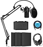 MXL 990 Cardioid Condenser Microphone (Black) Bundle with Blucoil 4-Pack of 12' Acoustic Foam Isolation Panel Wedges, 10-FT Balanced XLR Cable, Boom Arm Plus Pop Filter, and Samson SR350 Headphones