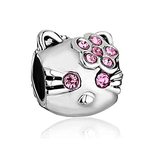 EvesCity 925 Silver Hello Kitty Pink Charms Beads Pendants for Charm Bracelets & Necklace