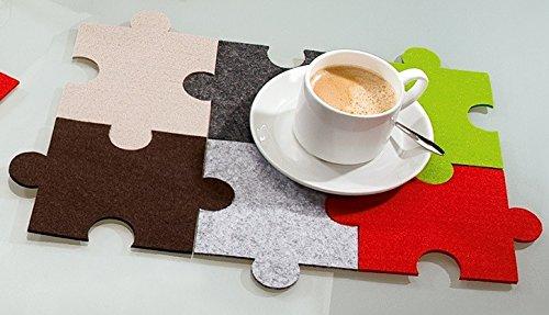 GILDE Posavasos de fieltro, diseño de puzzle, 8 unidades, multicolor