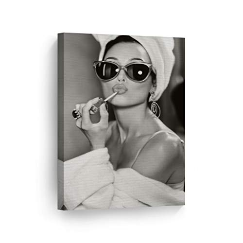 Audrey Hepburn Wall Art Canvas Print Lipstick Makeup Iconic Pop Art Pretty Beauty Black and White Wall Art Living Room Bedroom Wall Decor Vintage Artwork Ready to Hang Made in USA - 12x8