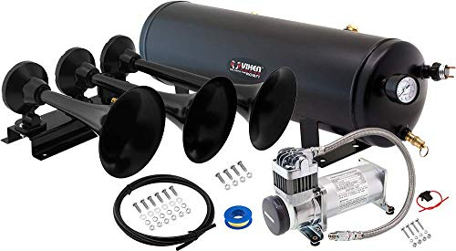 Vixen Horns 3 Gallon Air Tank/200 PSI Compressor Kit VXO8330 with Triple Trumpet Train Horn Black VXH3418B Bundle