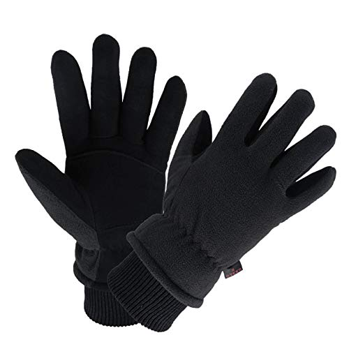 Winter Gloves Deerskin Leather Thermal Ski Glove Insulated Fleece for Snow Skiing Driving Cycling Hiking Runing Hand Warmer in Cold Weather for Men and Women Large Black