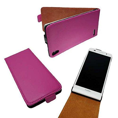 caseroxx Flip Cover für Huawei Ascend P6, Tasche (Flip Cover in pink)