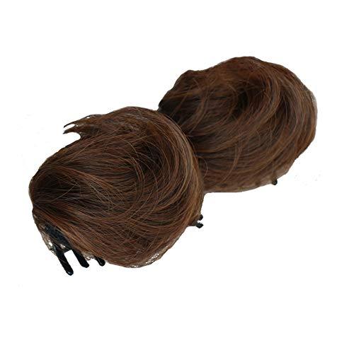 1 paire cheveux raides double queue de cheval postiches cheveux Extensions épais Claw, Marron clair