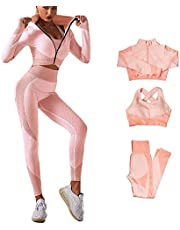VERILISS Dames 3-delige Naadloze Sportkleding Sets, Workout Outfit 3 Stuks Trainingspak Yoga Leggings en Stretch Sportbeha Gym Kleding Set
