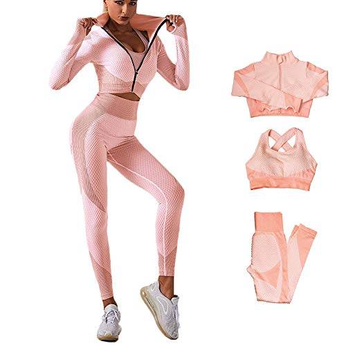Veriliss 3 Piezas Mujer Yoga Traje Entrenamiento Para, Gym Mallas de Yoga Sin Costuras y Sujetador Deportivo Elástico Ropa de Gimnasio (Rosado, S)