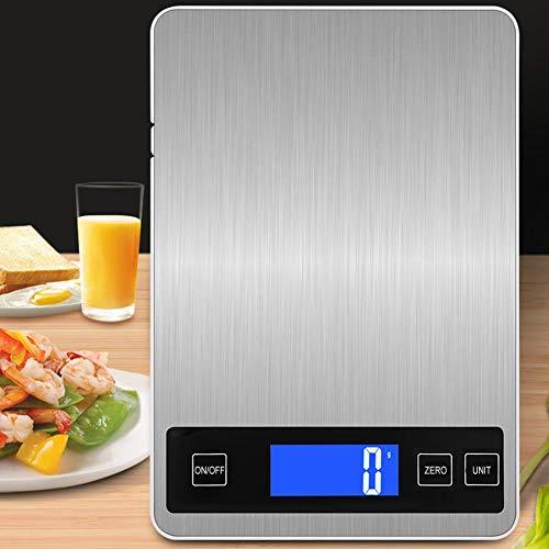 Longzhuo Digitale keukenweegschaal, elektronische levensmiddelweegschaal, roestvrij staal, keukenweegschaal, met schaalweegschaal, baken, elektronische koeling, met wekkerfunctie, fijne weegschaal, professionele huishoudweegschaal, 1 g - 5 kg