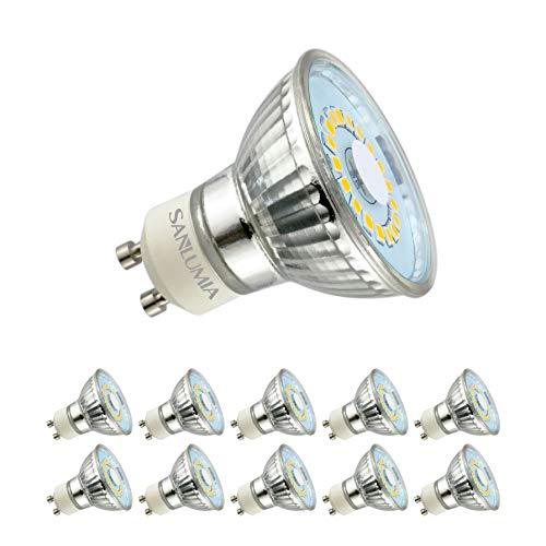 Sanlumia Bombillas LED GU10, 5W = 50W Halógena, 450Lm, Blanco Frío (6400K), 120 ° ángulo de haz, Iluminación de Techo...