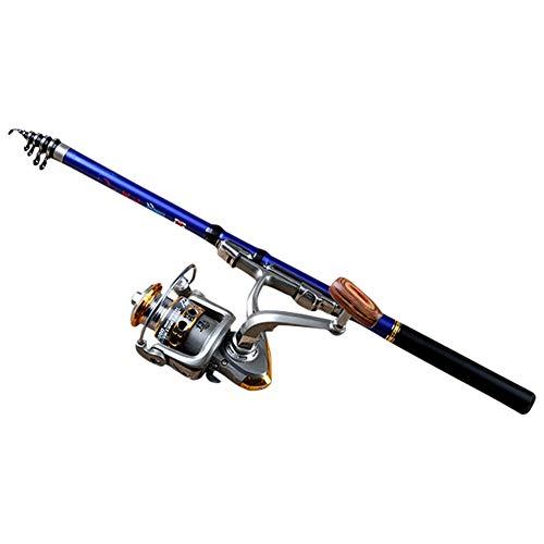 Haloku Canna da Pesca, Portatile Telescopica Mare Asta Fibra di Carbonio Mulinello da Spinning Esca per Pesci Asta per Viaggi da Pesca, 1.8/2.1/2.4/2.7/3.0m - Blu, 1.8m