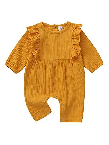 Mono de algodón de lino para recién nacidos, para bebé, para recién nacidos, primavera, otoño, amarillo, 0-6 Meses