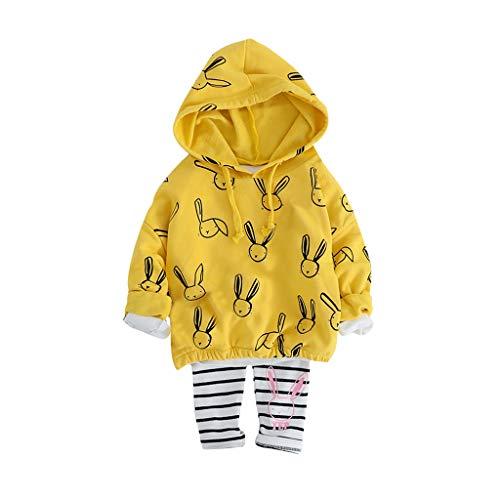 Julhold Peuter Baby Kids Meisjes Mode Leuke Konijn Hooded Sweatshirt Trui Gestreept Slim Katoen Broek Set 1-4 Jaar