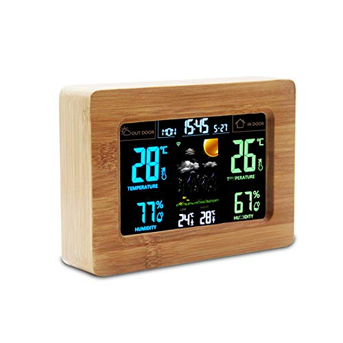 Draadloos WiFi-weerstation Indoor Outdoor Temperatuur-vochtigheidsmeter, Home Weather Clock