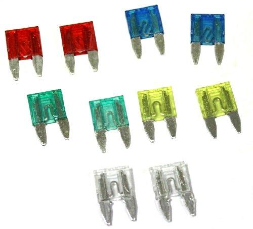 Aerzetix 3800946602866Mini-Sicherungen, 11mm, 10A/15A/20A/25A/30A, 10 Stück