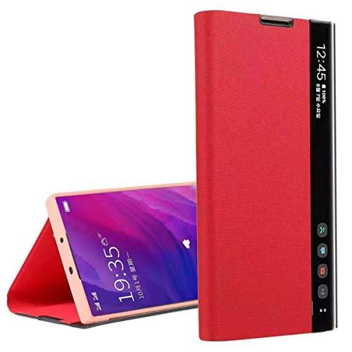Suhctup Cuero Funda Compatible con Xiaomi Redmi 6A,Protección Carcasa con [Soporte] y [Inteligente Ventana Lateral Visible],Ultra Delgado Flip Bumper Case para Redmi 6A,Rojo