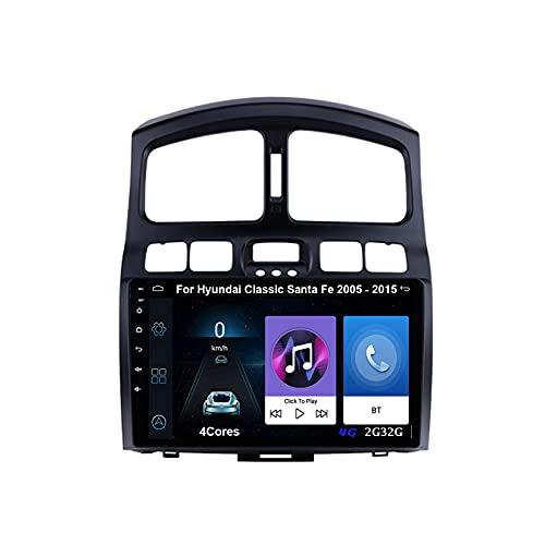 Android 10 Autoradio 9 Pulgadas Coche Radio De Coche Pantalla Tactil Para Hyundai Classic Santa Fe 2005-2015 Radio Del Coche Car Player Conecta Y Reproduce Coche Cámara Trasera