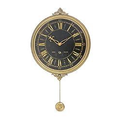 Benjara Classic Clock Wall Decor with Pendulum and Spade Needles, Yellow, Black