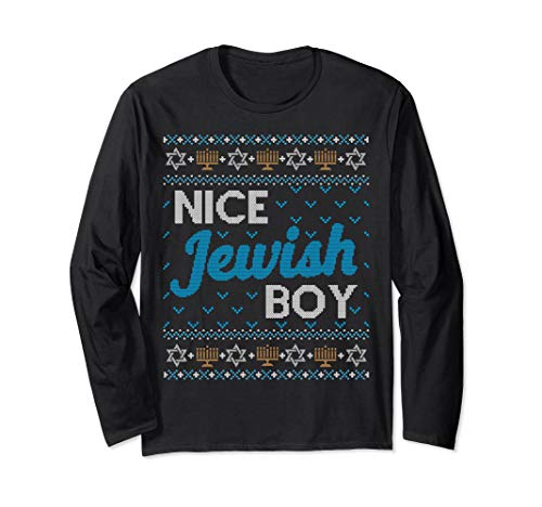 LONG SLEEVE SHIRT Ugly Hanukkah Nice Jewish Boy Matching