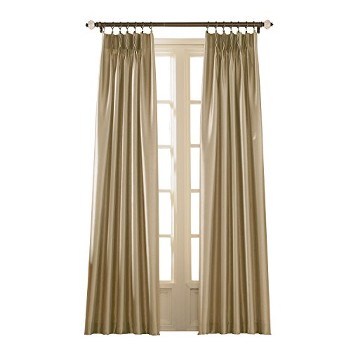 Curtainworks Marquee Faux Silk Pinch Pleat Curtain Panel, 30 by 84', Sand